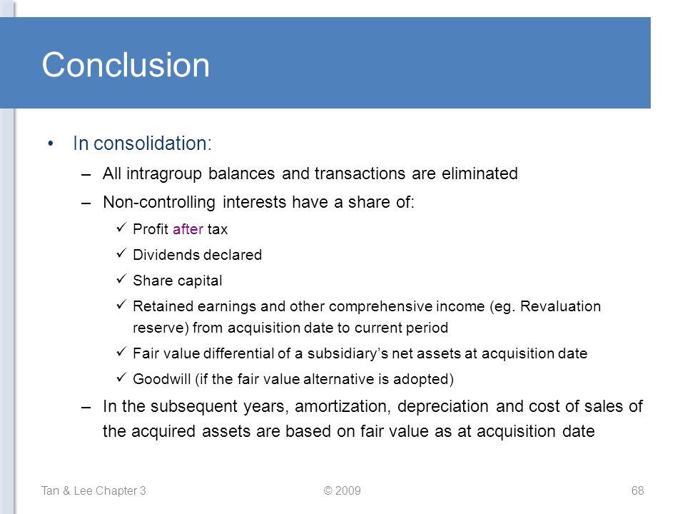 Conclusion In consolidation:
