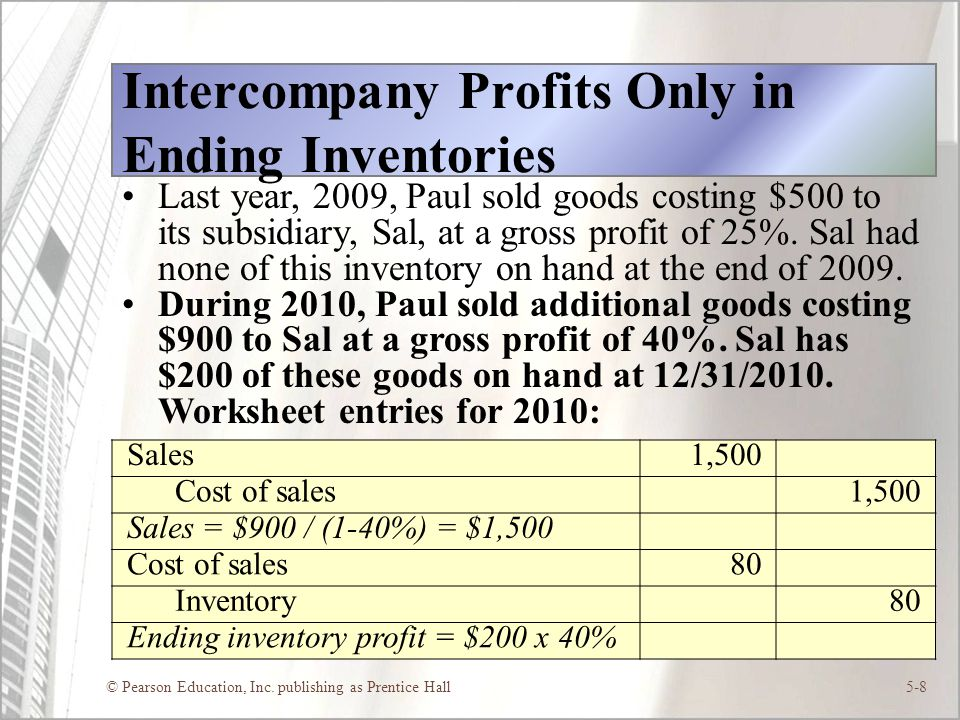 Intercompany Profits Only in Ending Inventories