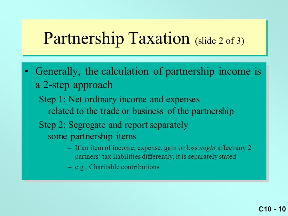 Partnership Taxation (slide 2 of 3)