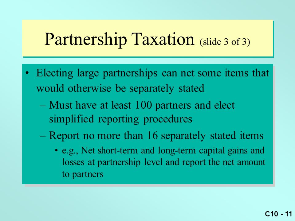 Partnership Taxation (slide 3 of 3)