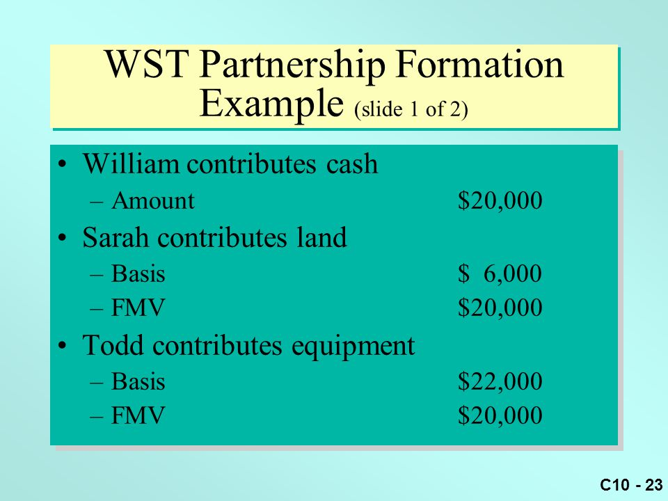 WST Partnership Formation Example (slide 1 of 2)