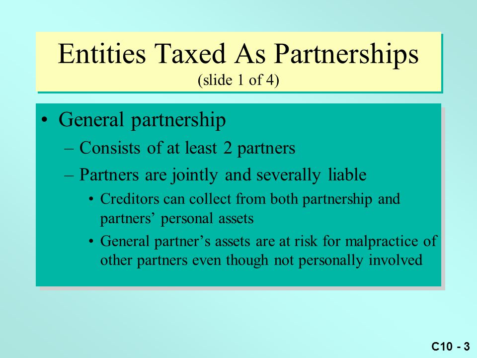 Entities Taxed As Partnerships (slide 1 of 4)