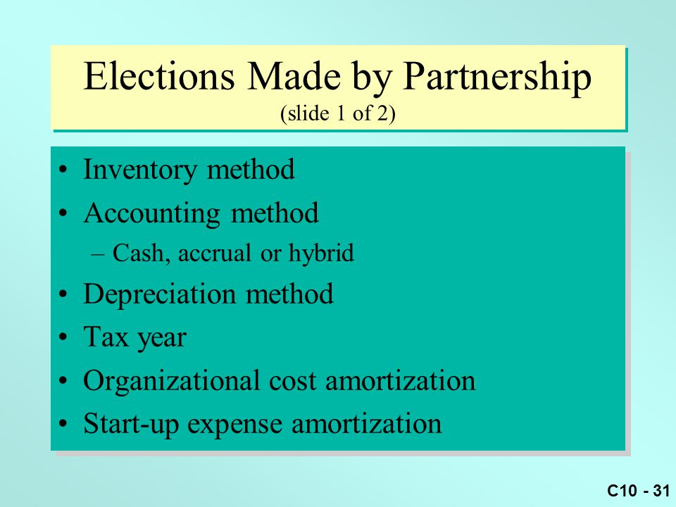 Elections Made by Partnership (slide 1 of 2)