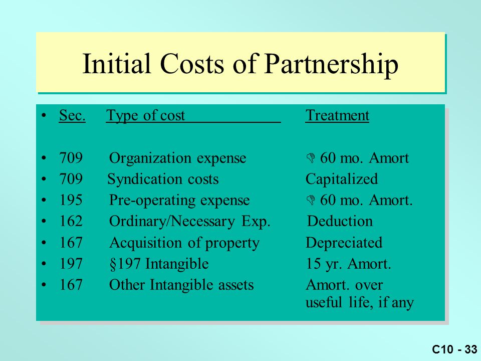 Initial Costs of Partnership