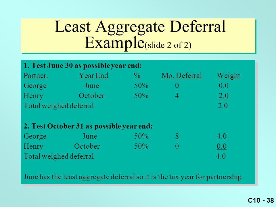 Least Aggregate Deferral Example(slide 2 of 2)