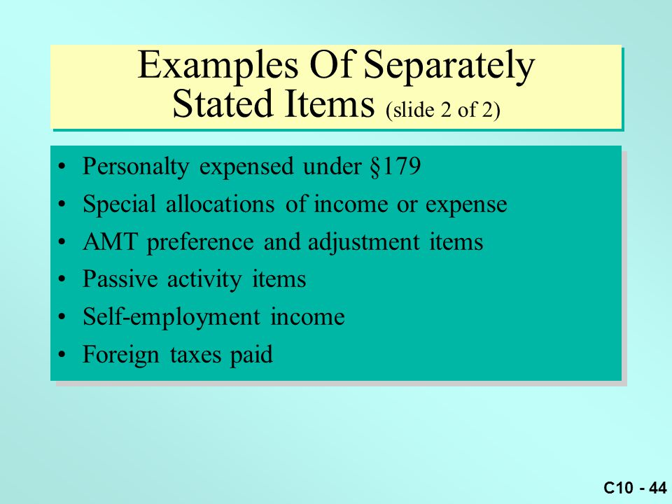 Examples Of Separately Stated Items (slide 2 of 2)
