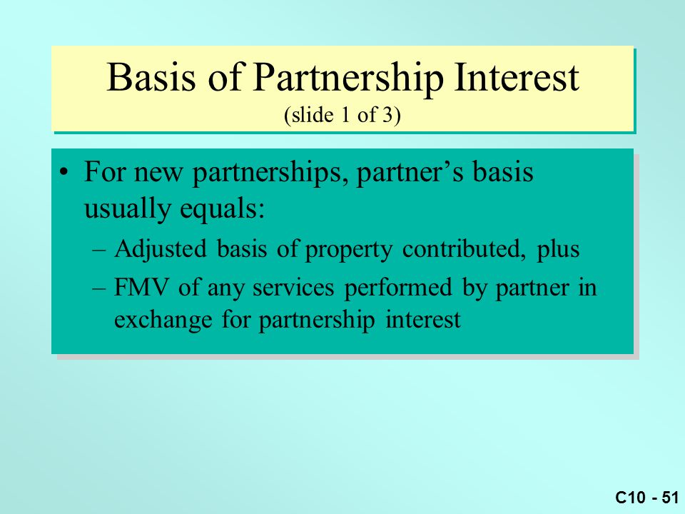 Basis of Partnership Interest (slide 1 of 3)