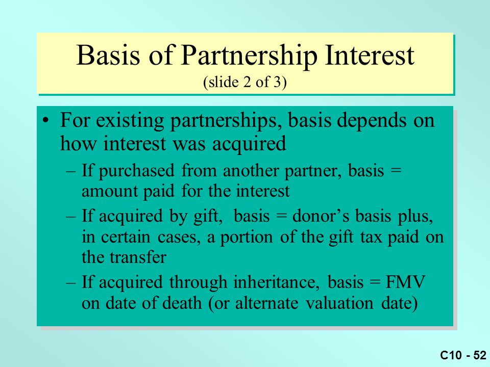 Basis of Partnership Interest (slide 2 of 3)