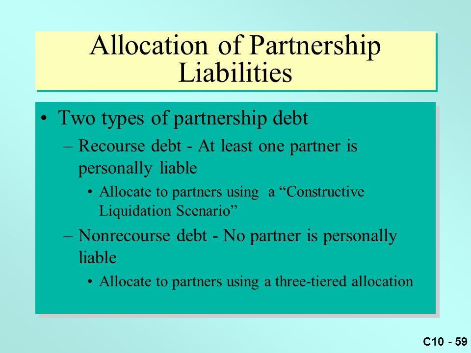 Allocation of Partnership Liabilities