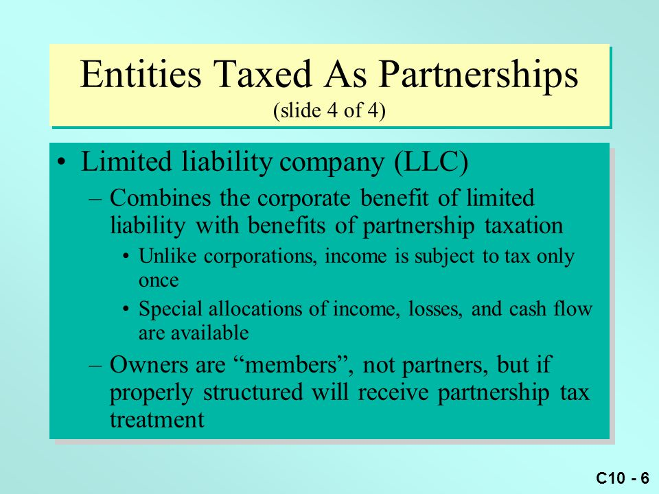 Entities Taxed As Partnerships (slide 4 of 4)