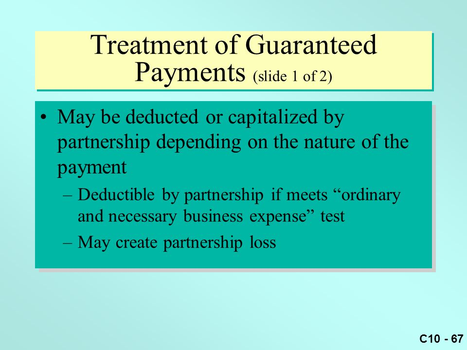 Treatment of Guaranteed Payments (slide 1 of 2)