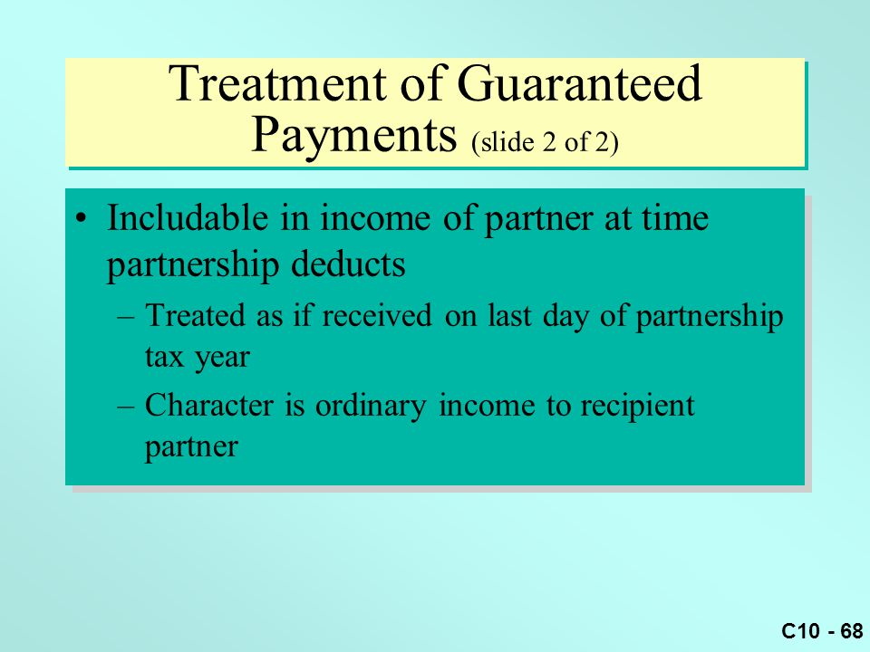 Treatment of Guaranteed Payments (slide 2 of 2)