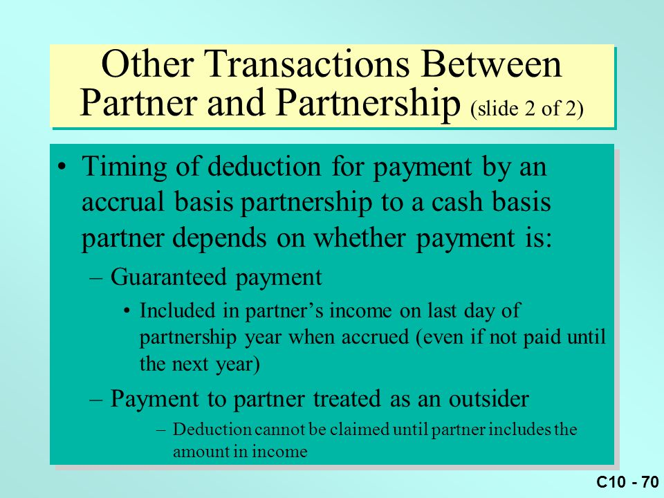 Other Transactions Between Partner and Partnership (slide 2 of 2)