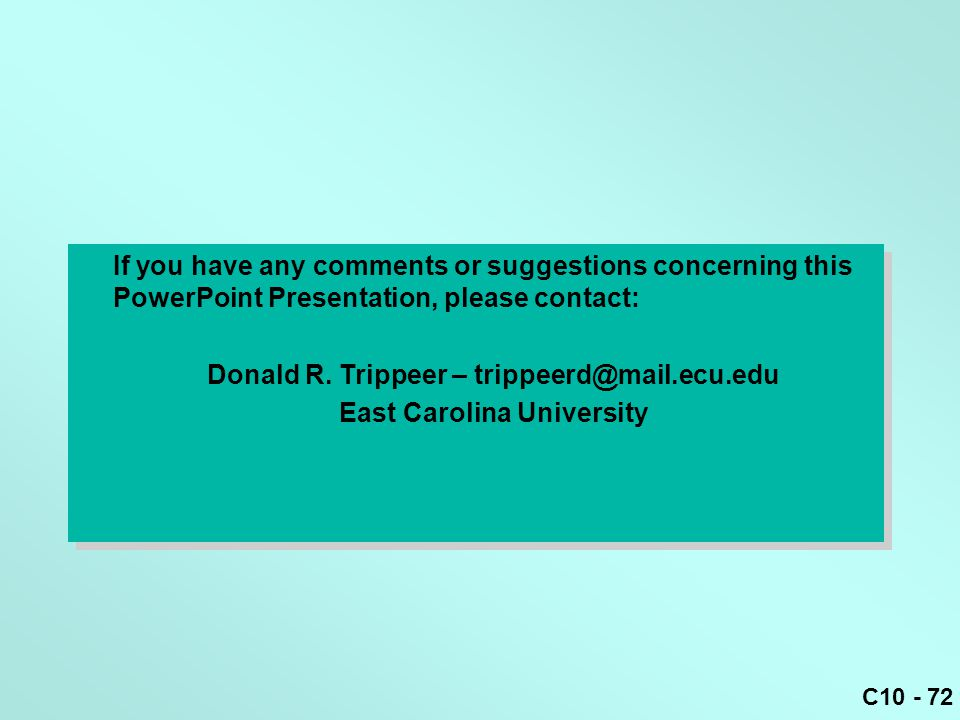 Donald R. Trippeer – trippeerd@mail.ecu.edu East Carolina University