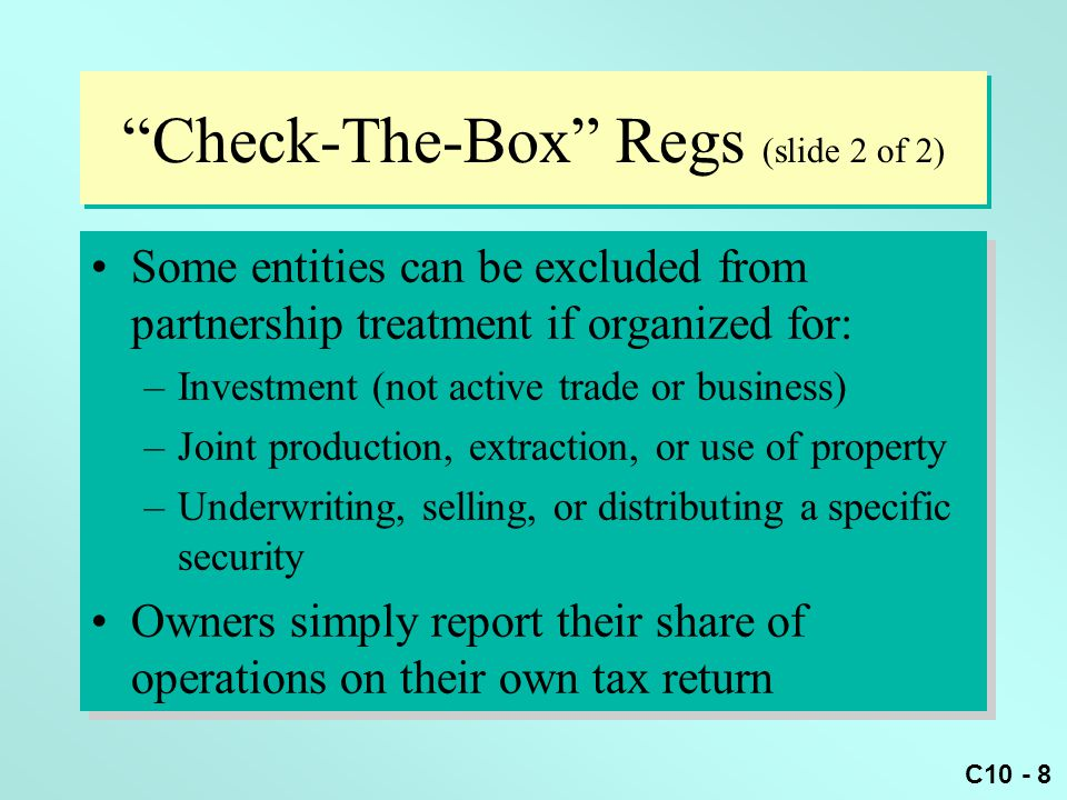 Check-The-Box Regs (slide 2 of 2)