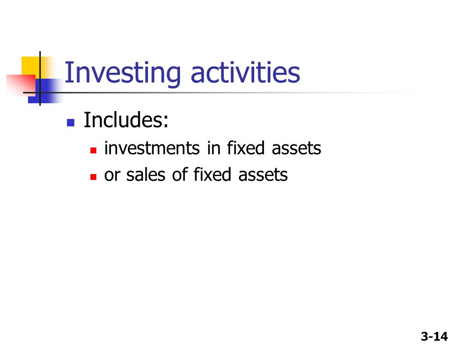 Investing activities Includes: investments in fixed assets