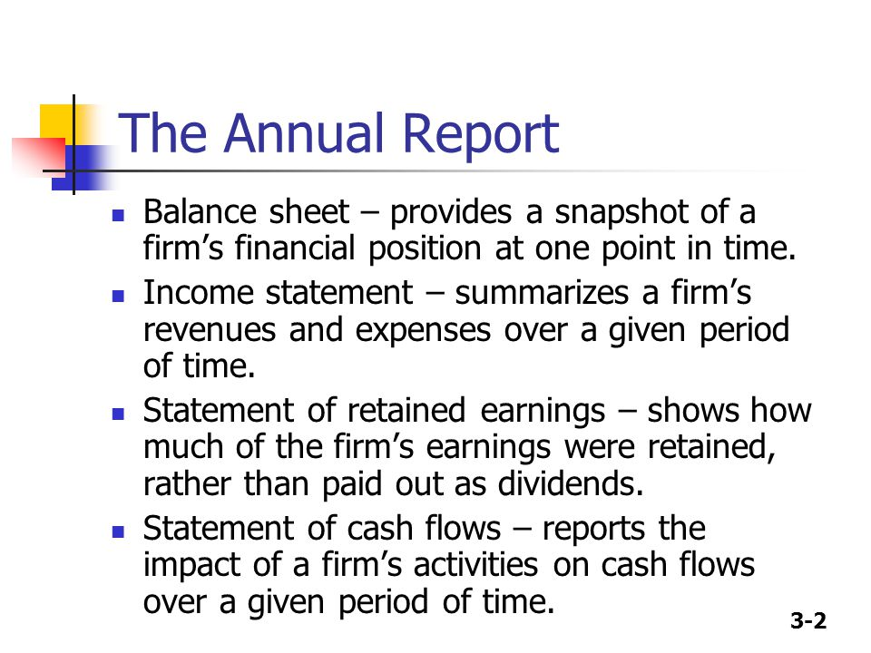 The Annual Report Balance sheet – provides a snapshot of a firm's financial position at one point in time.