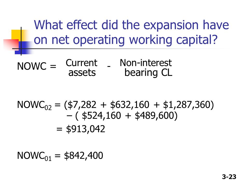 What effect did the expansion have on net operating working capital