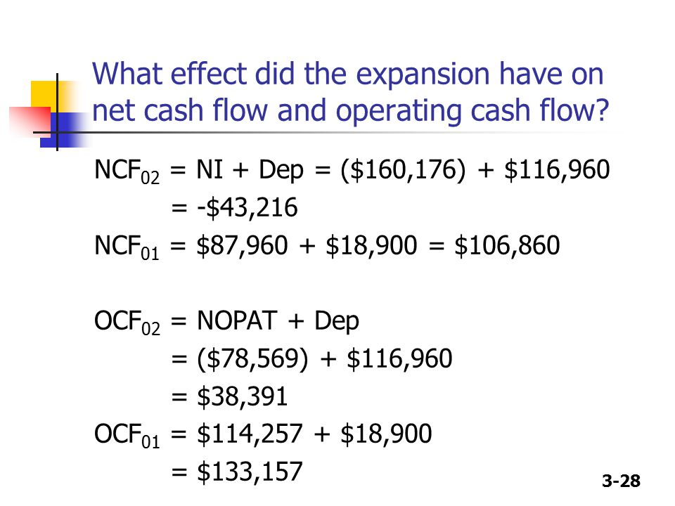 What effect did the expansion have on net cash flow and operating cash flow