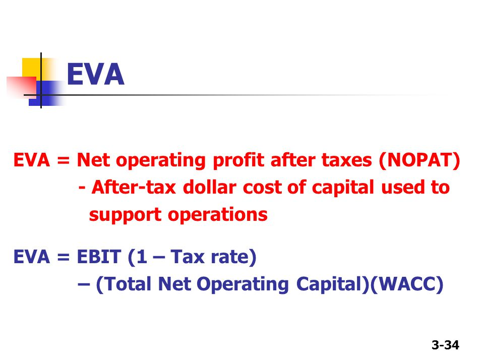 EVA EVA = Net operating profit after taxes (NOPAT)