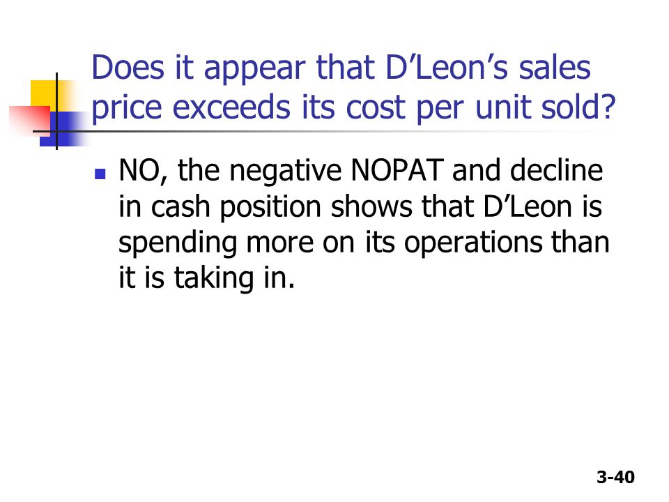 Does it appear that D'Leon's sales price exceeds its cost per unit sold