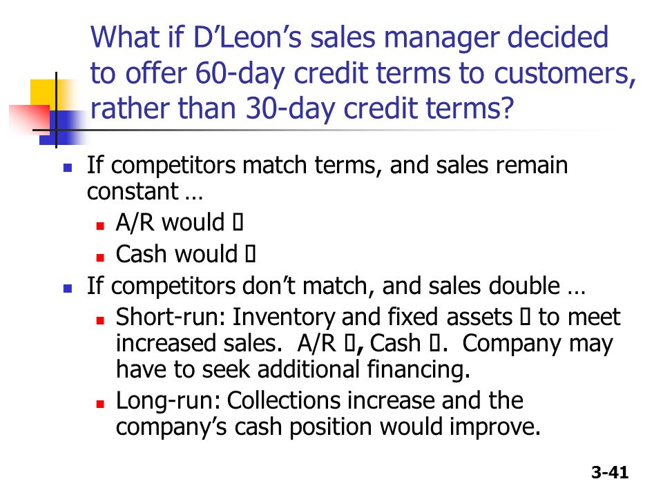 What if D'Leon's sales manager decided to offer 60-day credit terms to customers, rather than 30-day credit terms