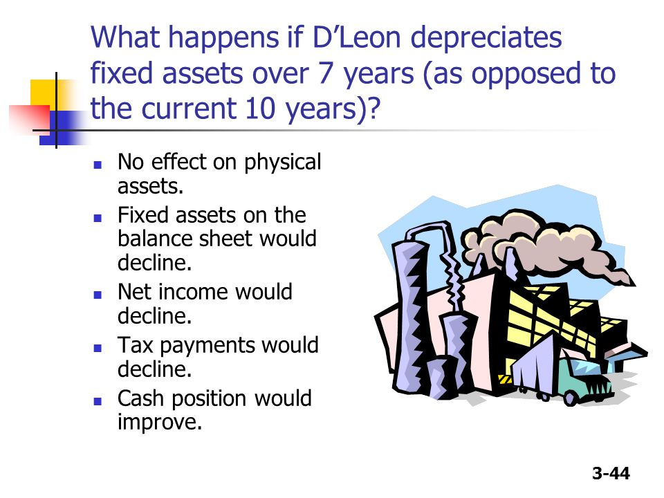 What happens if D'Leon depreciates fixed assets over 7 years (as opposed to the current 10 years)