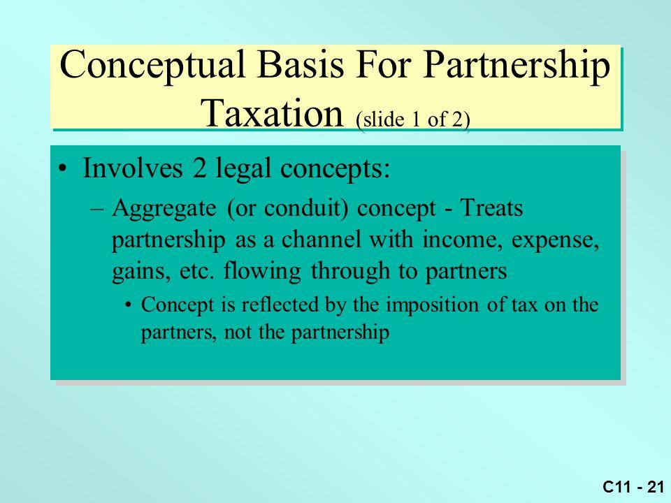 Conceptual Basis For Partnership Taxation (slide 1 of 2)