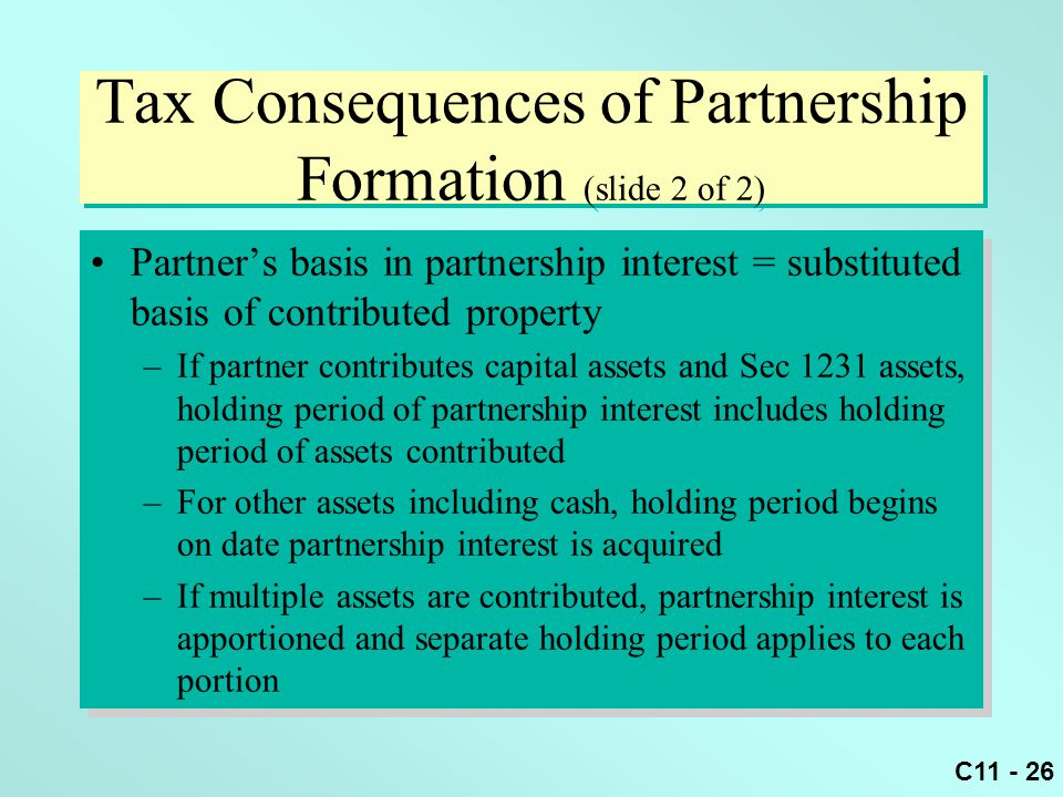Tax Consequences of Partnership Formation (slide 2 of 2)