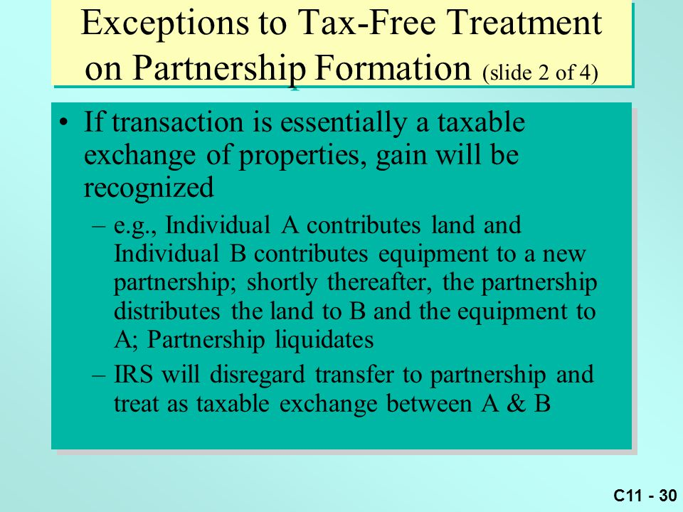 Exceptions to Tax-Free Treatment on Partnership Formation (slide 2 of 4)