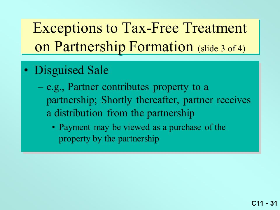 Exceptions to Tax-Free Treatment on Partnership Formation (slide 3 of 4)