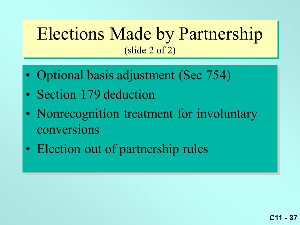 Elections Made by Partnership (slide 2 of 2)