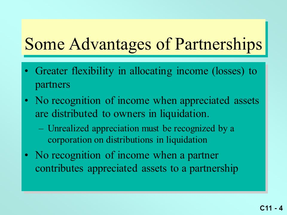 Some Advantages of Partnerships