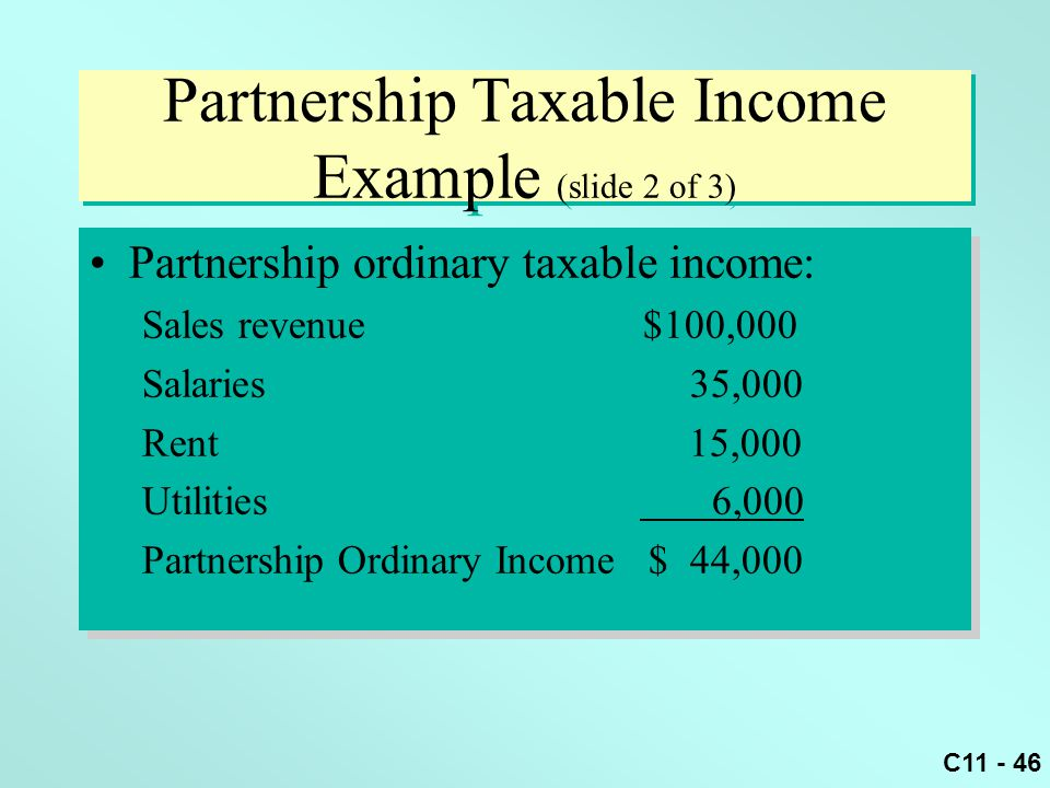 Partnership Taxable Income Example (slide 2 of 3)