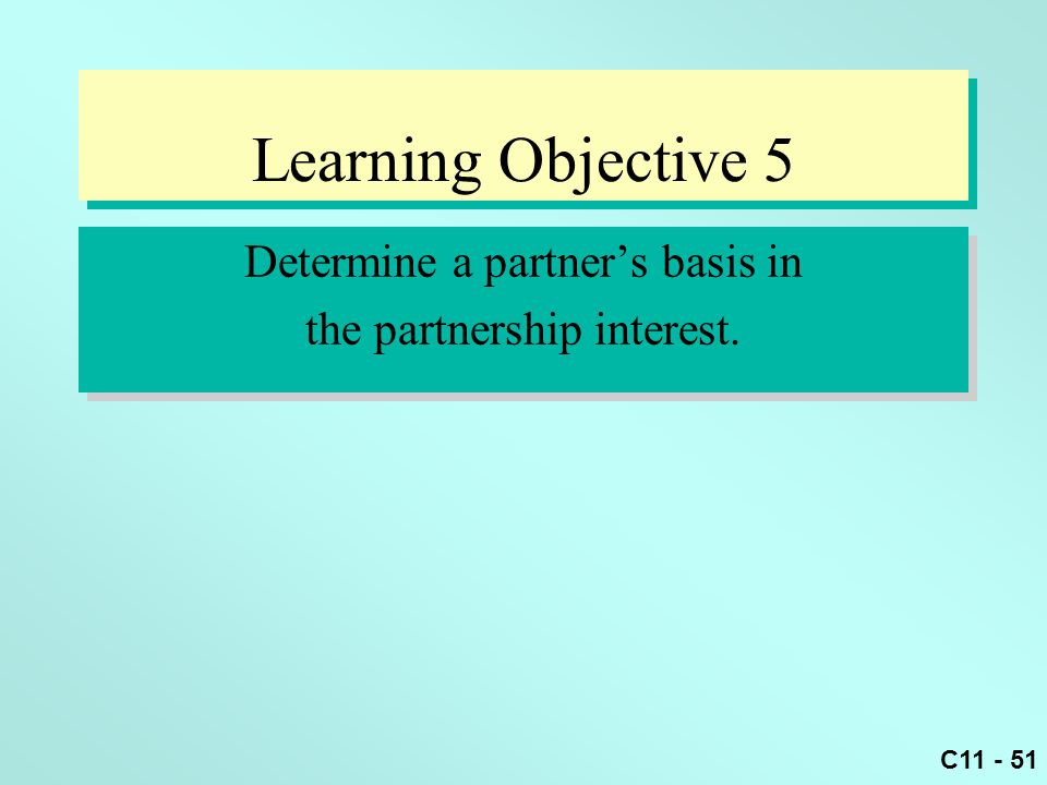 Learning Objective 5 Determine a partner's basis in