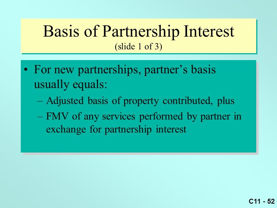 Basis of Partnership Interest (slide 1 of 3)