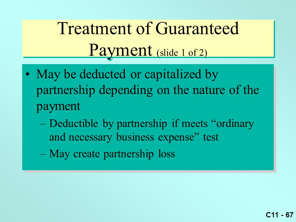 Treatment of Guaranteed Payment (slide 1 of 2)