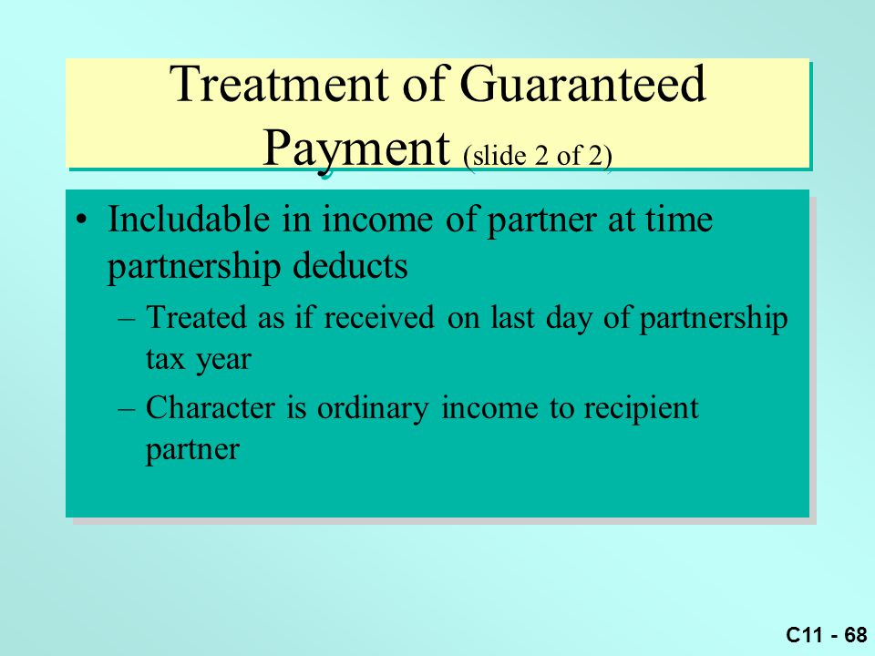 Treatment of Guaranteed Payment (slide 2 of 2)