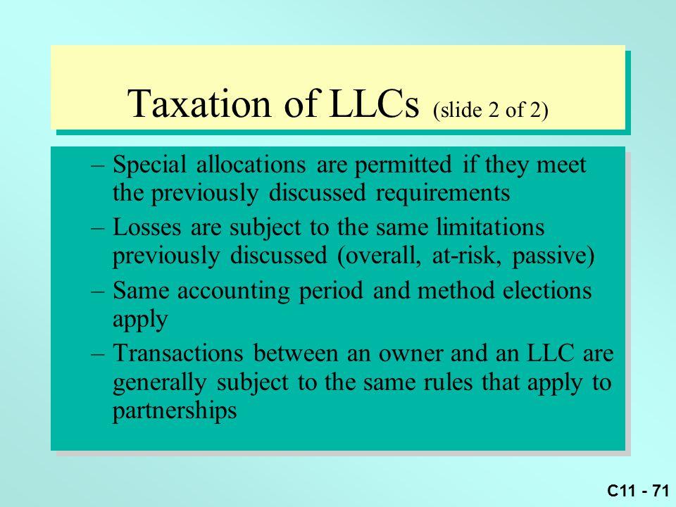 Taxation of LLCs (slide 2 of 2)