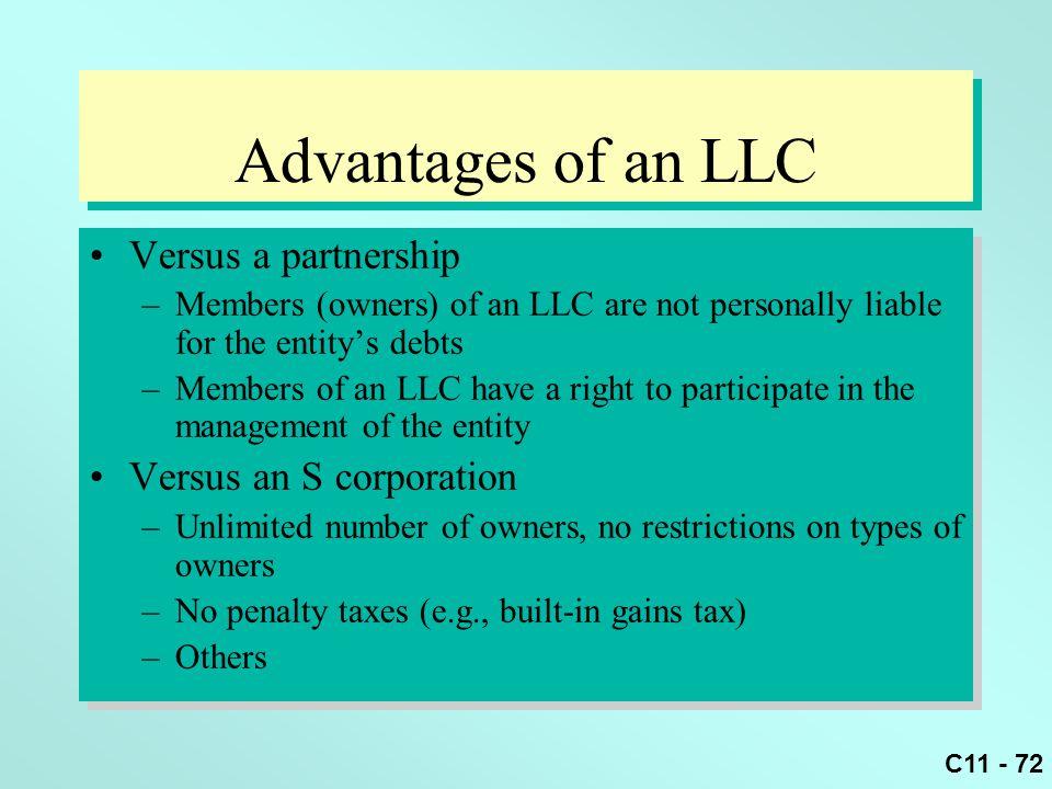 Advantages of an LLC Versus a partnership Versus an S corporation
