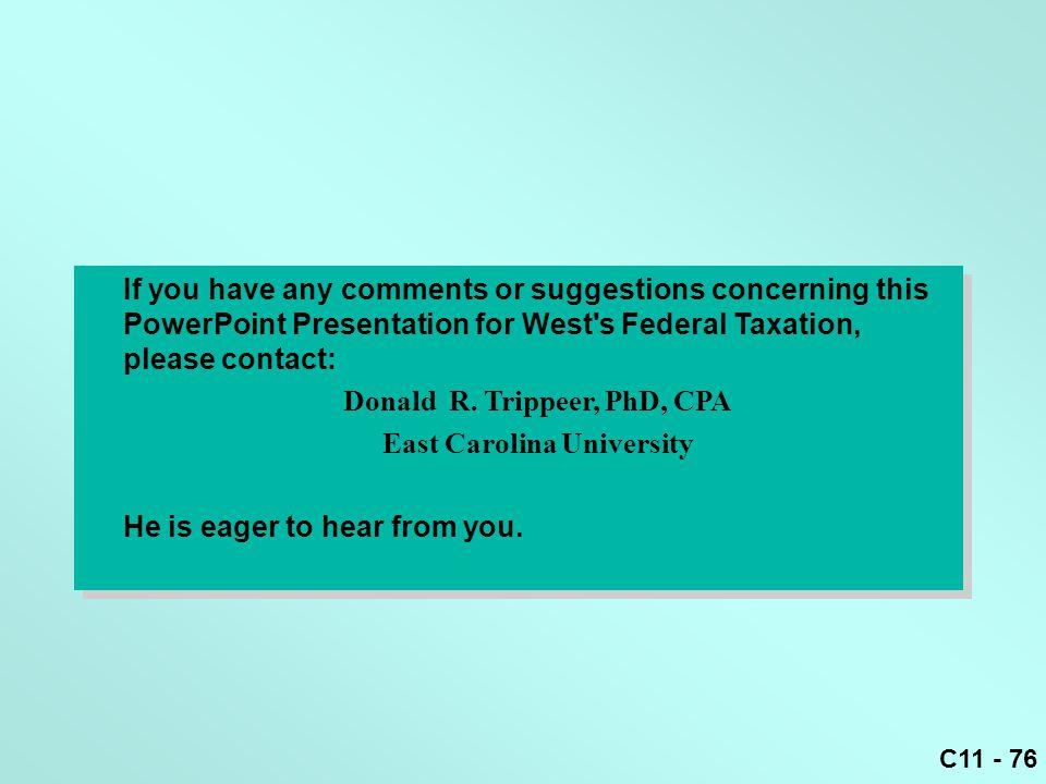 Donald R. Trippeer, PhD, CPA East Carolina University
