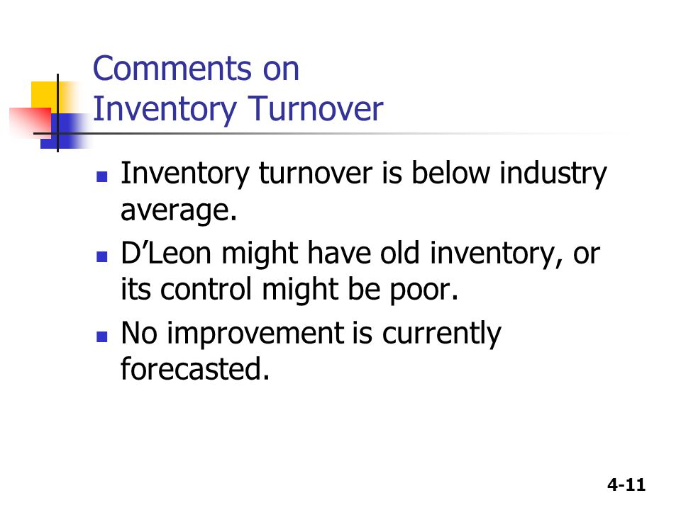 Comments on Inventory Turnover