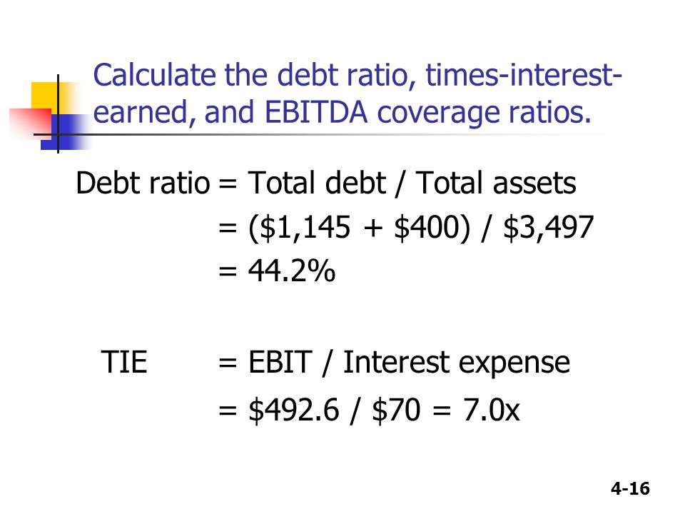 Calculate the debt ratio, times-interest-earned, and EBITDA coverage ratios.