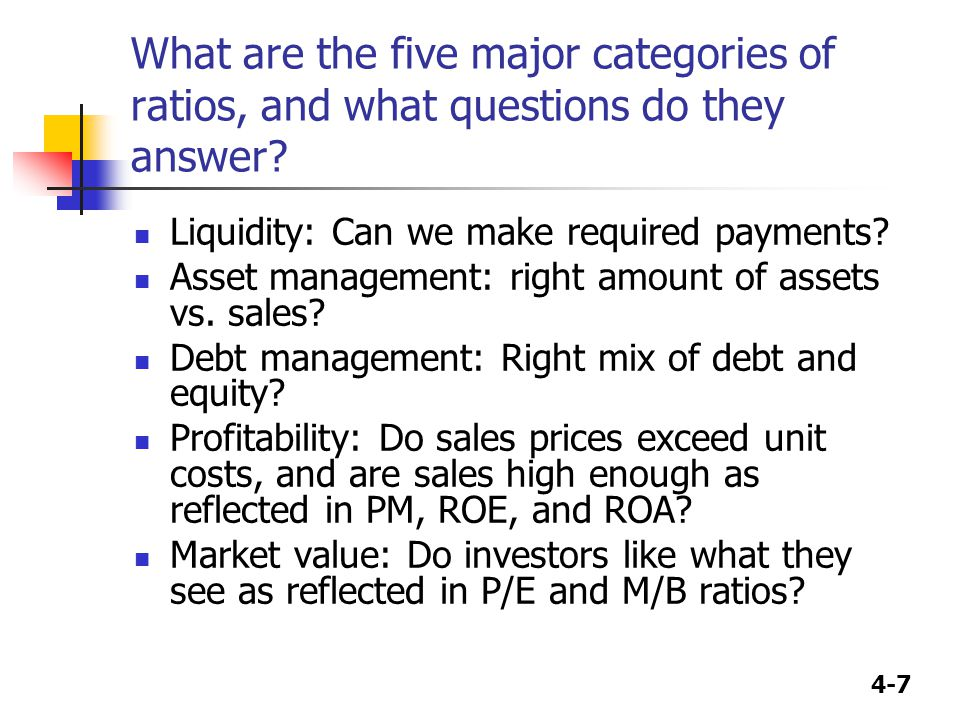 What are the five major categories of ratios, and what questions do they answer