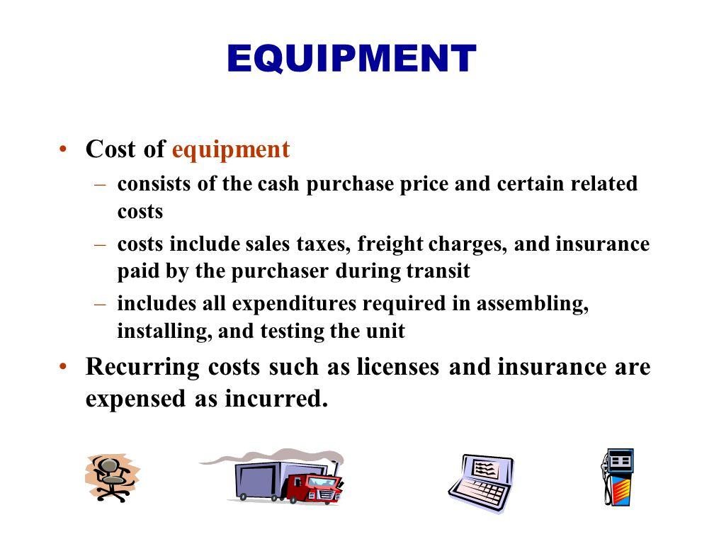 EQUIPMENT Cost of equipment