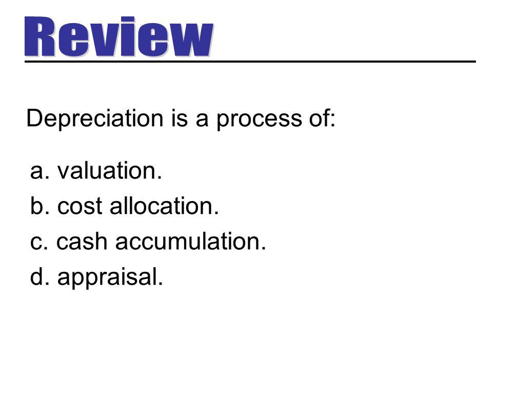 Depreciation is a process of: