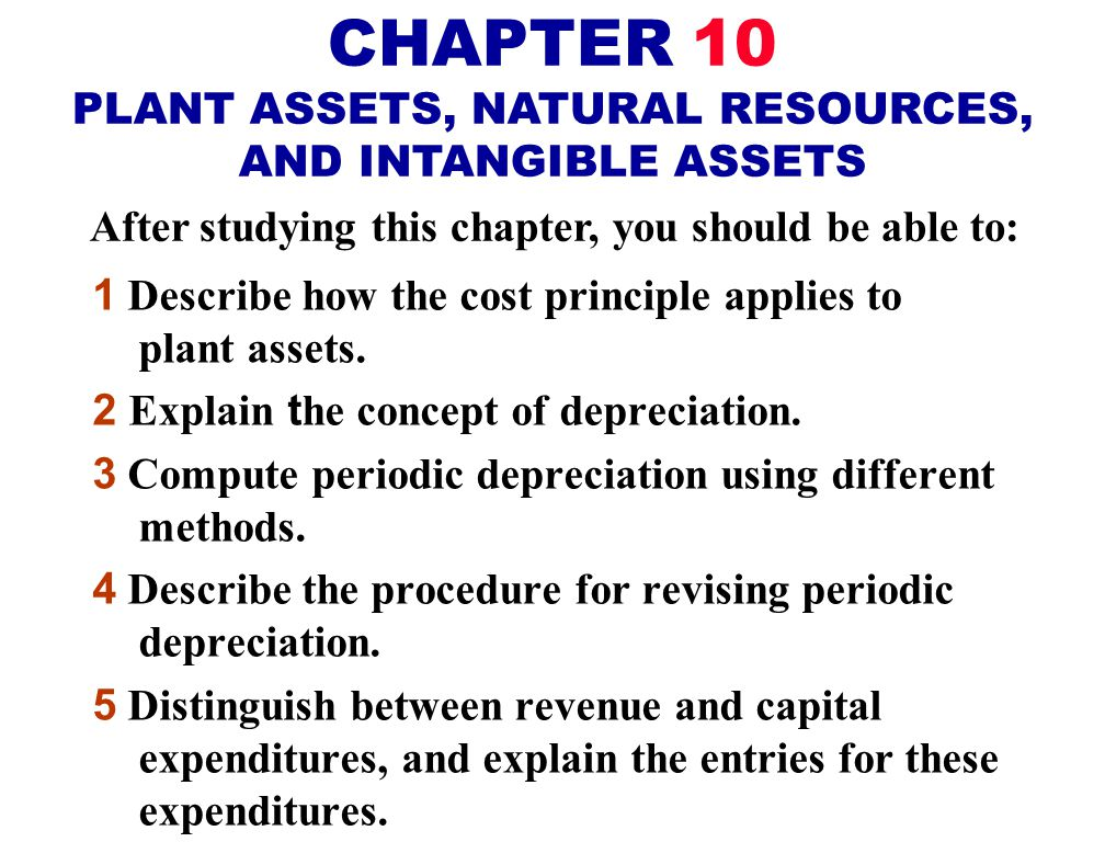CHAPTER 10 PLANT ASSETS, NATURAL RESOURCES, AND INTANGIBLE ASSETS