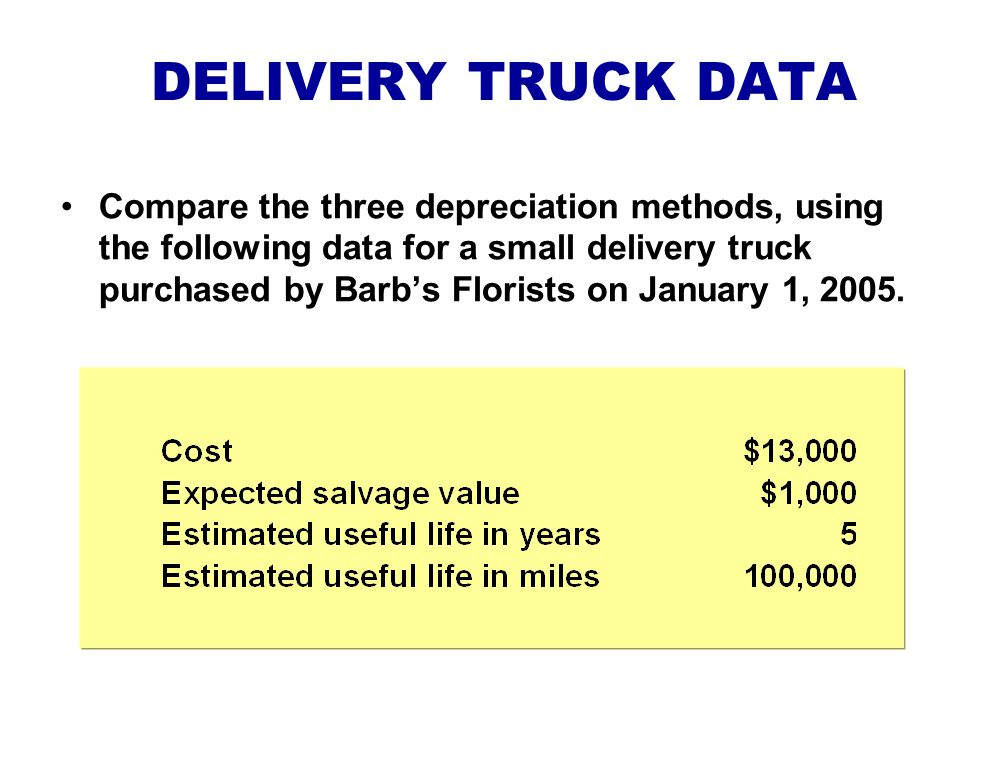 DELIVERY TRUCK DATA