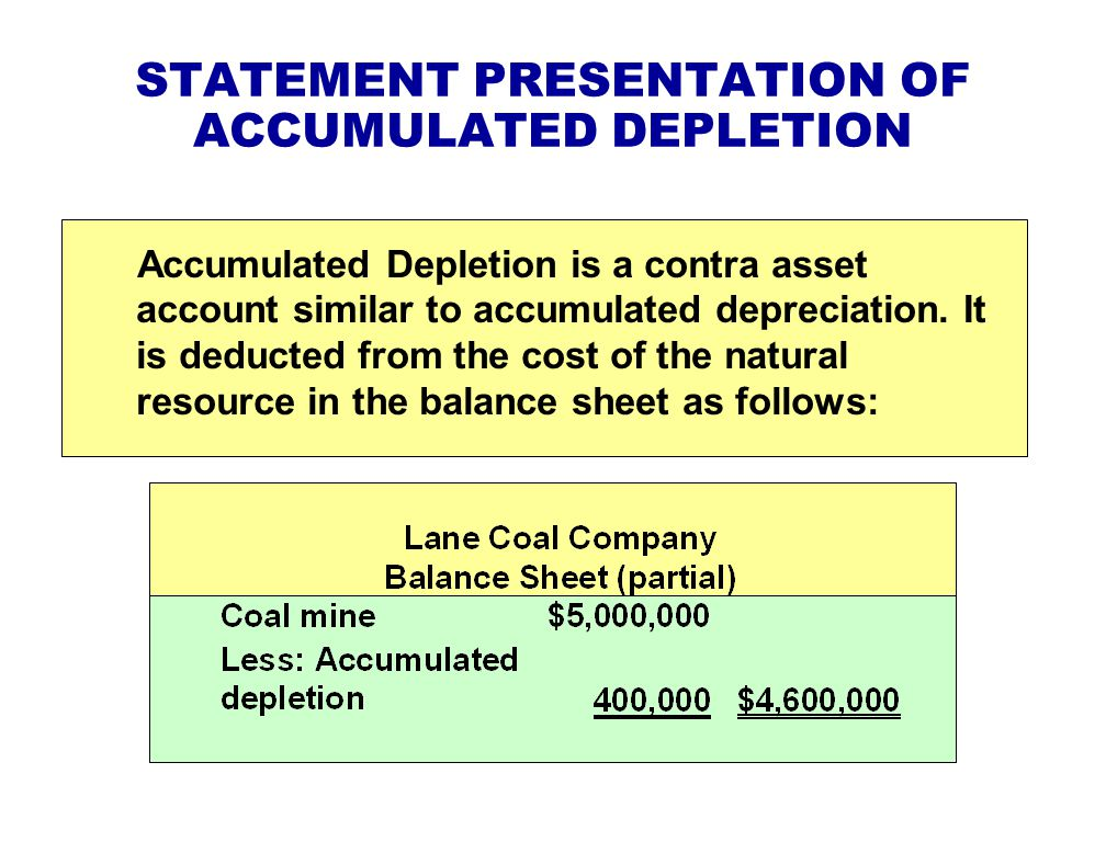 STATEMENT PRESENTATION OF ACCUMULATED DEPLETION