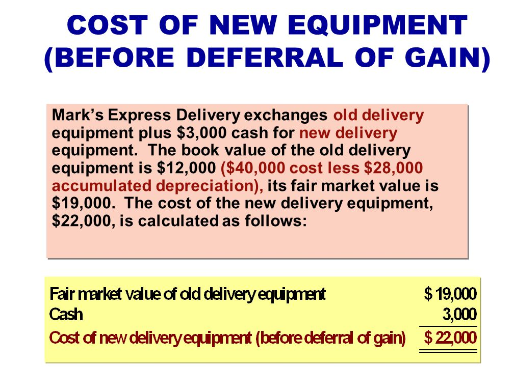COST OF NEW EQUIPMENT (BEFORE DEFERRAL OF GAIN)
